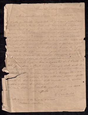 Lettera di Giuseppe Garibaldi ad Antonio Martini, 16.12.1859, Archivio di Stato di Prato, Comunale, Carte Cironi, cartella A fascicolo 6